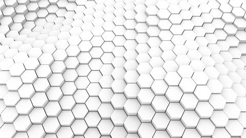 Many abstract geometric hexagons as wave, optical Illusion, computer generated Footage
