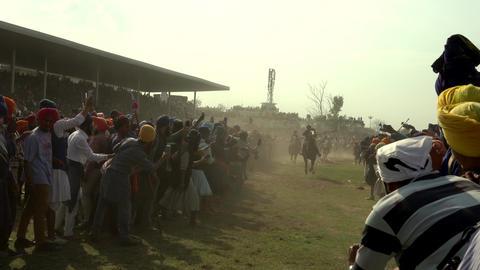 Anandpur Sahib, India-20180302- Hola Mohalla - Sikh Festival - Crowded Horses Footage