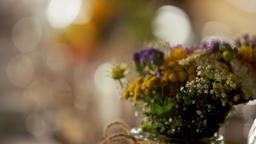 Wedding Dining Table with Bouquet of Flowers and Fruits in Boho Style Decor Footage