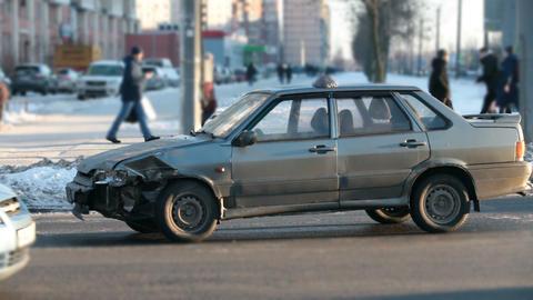 broken car at a crossroads Footage