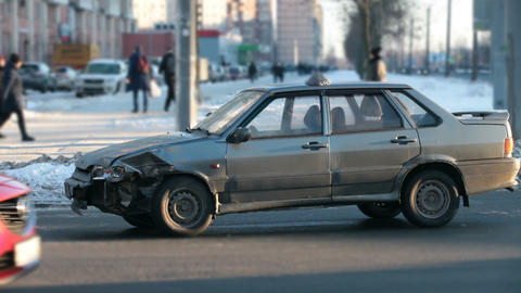 broken car at a crossroads Stock Video Footage