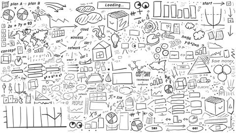 Hand-drawn infographics background Animation
