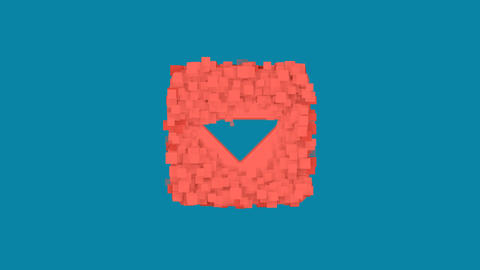 Behind the squares appears the symbol caret square down. In - Out. Alpha channel Animation