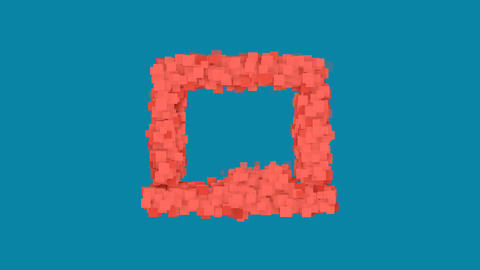 Behind the squares appears the symbol chalkboard. In - Out. Alpha channel Animation