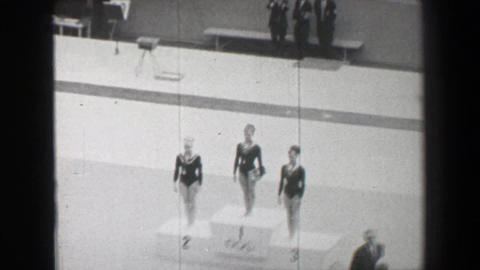 1968: Gold medal awards ceremony women's balance beam gymnastics Summer Olympic  Footage