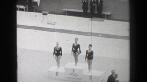 1968: Gold medal awards ceremony women's balance beam gymnastics Summer Olympic  Footage