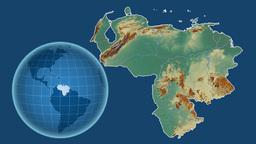 Venezuela and Globe. Relief Animation