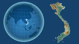 Vietnam and Globe. Relief Animation