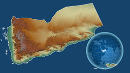 Yemen and Globe. Relief Animation