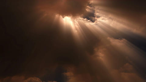 Sun beams stream through time lapse clouds - Cloud FX0101 NTSC, PAL, HD, 4K Footage