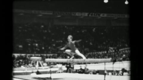 1966: Larisa Latynina Soviet Union women's balance beam 16th Artistic Gymnastics Footage