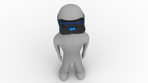 Top view 3d man in a vr headset on white and transparent background Animation