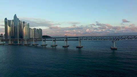 Rainbow far away from Gwangandaegyo, Gwangalli. Busan, South Korea Asia Live Action