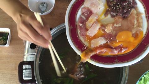 Homemade Cooking Hot Pot Of Sukiyaki Live Action
