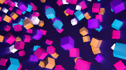 Rotating 3d cubes of different trend colors flying in space Animation