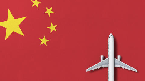 Commercial airplane on the flag of China. Travel related conceptual 3D animation Live Action