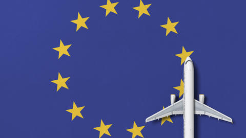 Commercial airplane on the flag of Eu. Travel related conceptual 3D animation Live Action