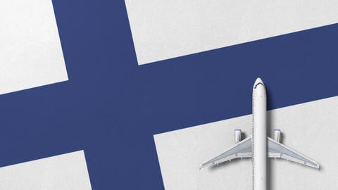 Commercial airplane on the flag of Finland. Travel related conceptual 3D Live Action