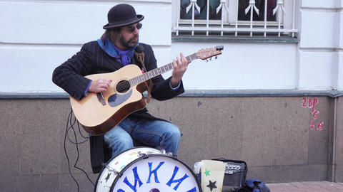 Street musician on the Arbat Street Live Action
