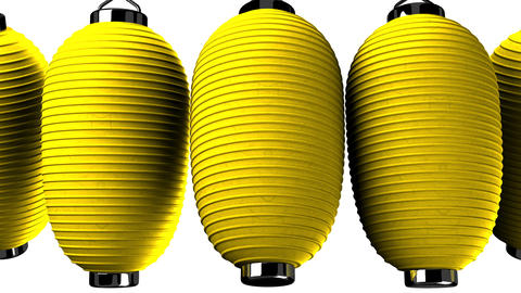 Yellow paper lanterns on white background CG動画