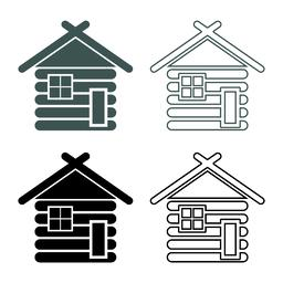 Wooden house Barn with wood Modular log cabins Wood cabin modular homes icon set Vector