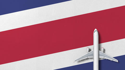 Commercial airplane on the flag of Costa rica. Travel related conceptual 3D Live Action
