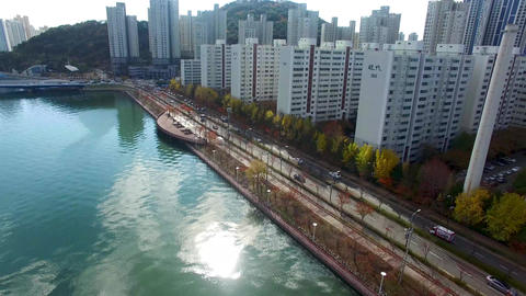 Aerial View of Naru Park and Centum City Traffic, Haeundae, Busan , South Korea, Live Action