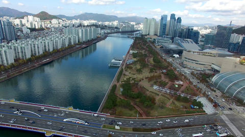 Aerial View of Naru Park and Centum City Traffic, Haeundae, Busan , South Korea, Footage