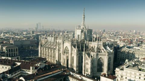 Aerial shot of Milan Cathedral or Duomo di Milano, main city's landmark. Italy ビデオ