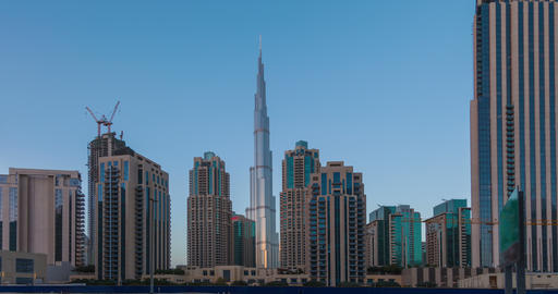 Panorama of skyscrapers and Burj Khalifa tower from day... Stock Video Footage