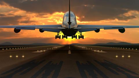 Spectacular airplane landing against sunset Animation