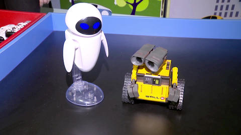 Two robots are bored without people, robots are toys for children Footage