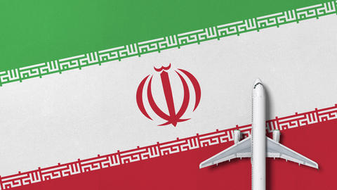 Commercial plane on the flag of Iran. Tourism related conceptual 3D animation Footage