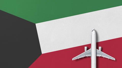 Top-down view of the airplane on the flag of Kuwait. Tourism related conceptual Footage