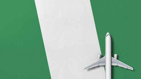 Commercial airplane on the flag of Nigeria. Travel related conceptual 3D Live Action