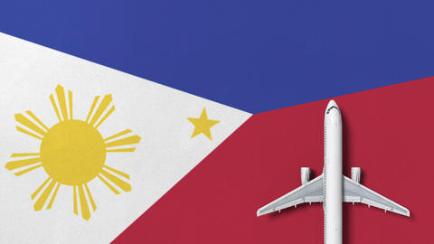 Top-down view of the airplane on the flag of Philippines. Tourism related Footage