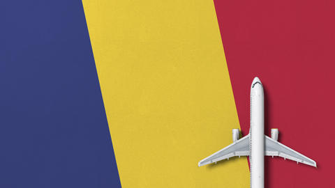 Top-down view of the airplane on the flag of Romania. Tourism related conceptual Footage