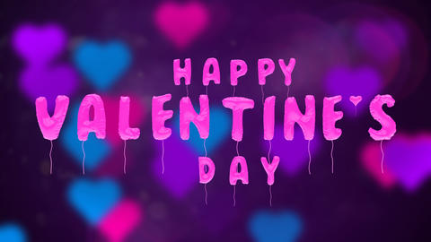 Valentine's day balloons on abstract background, Stock Animation