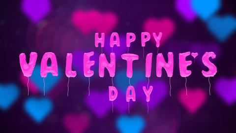 Valentine's day balloons on abstract background Animation