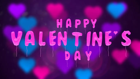 Valentine's day balloons on abstract background Stock Video Footage