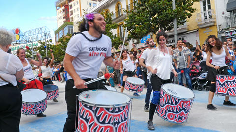 Torremolinos, Spain. Circa June 2018. Group of batucada street drummers in the Footage