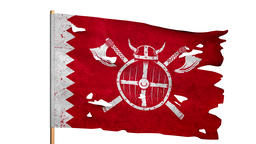Waving tattered ragged flag of medieval Viking knights Animation