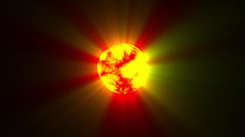 Small Red Yellow Hot Sun Rays Fractal Sphere Motion Background Loop Fast Animation