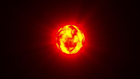 Small Red Hot Sun Rays Fractal Sphere Motion Background Loop Fast Animation