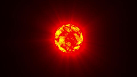 Small Red Hot Sun Rays Fractal Sphere Motion Background Loop Slow Animation