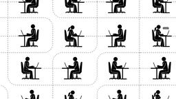 Pictograms people with laptops are sitting online in the global Internet Animation