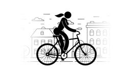 Pictogram woman riding a bicycle Animation