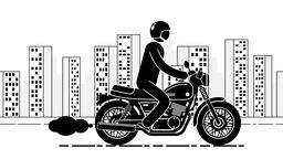 Pictogram motorcyclist rides against large city Animation