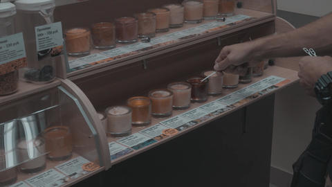 Tasting of different types of honey Live Action