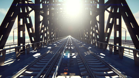 The camera flies over the railway bridge on a Sunny day. Looped realistic Animation